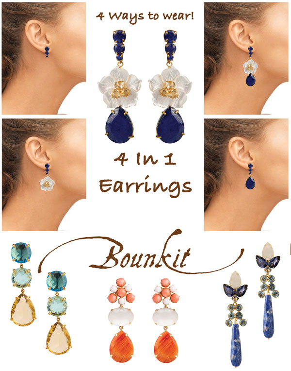 Bounkit Jewelry 4 in 1 earring