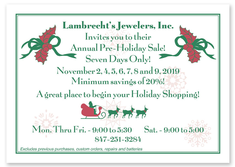 LAMBRECHT JEWELERS' PRE-HOLIDAY SALE BANNER